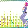 Stock Vector: Girl dancing with background
