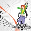 Female dancing on music background — Stok Vektör