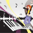 Female dancing on music background - Stock Vector