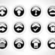 Black rounded icons for multiple use — Stock Vector #2414927