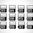 Black icons for computer generated file — Stockvectorbeeld