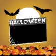 Stock Vector: Black frame with halloween background