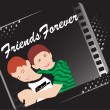 Royalty-Free Stock Vector Image: Black background with two friend