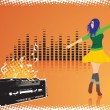 Royalty-Free Stock Vector Image: Female dancing on music background