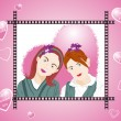 Illustration of two female friend — Stock Vector