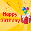 Birthday surprise gift, yellow - Imagens vectoriais em stock