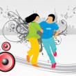 Dancing couple on background — Imagens vectoriais em stock