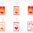 Beautifull tag with romantic heart — Stock Vector
