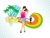 Dancer on summer background, — Stock Vector