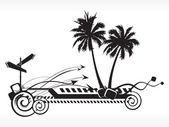 Black and white summer background — Stock Vector