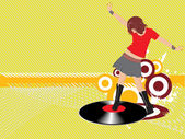 Female dancing on music background — Stock Vector