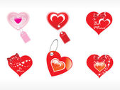 Beautifull tag with romantic heart — Vector de stock
