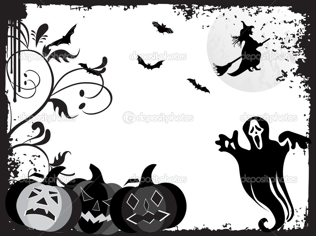 Black grunge frame with halloween background, illustration — Stock Vector #2415449