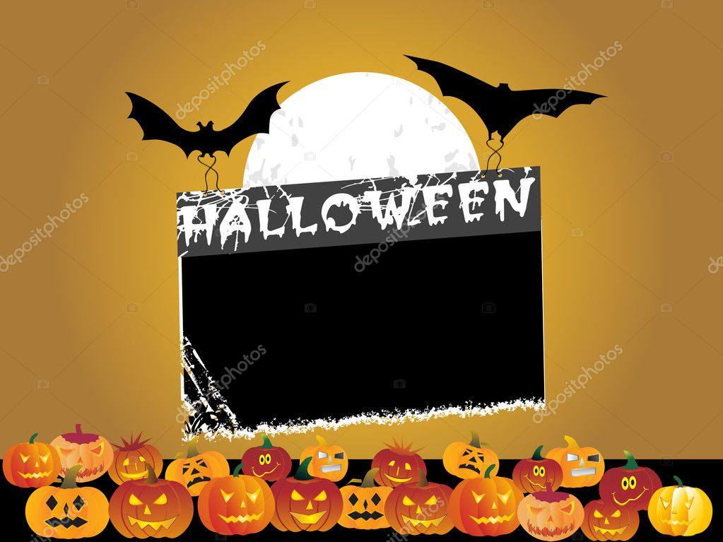 Black frame with halloween background — Stock Vector #2415467