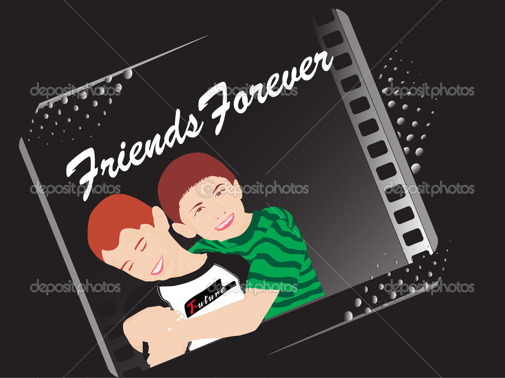 Black background with two friend, illustration — Stock Vector #2415570