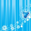 Blue valentines winter vector background - Stock Vector
