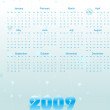 Stock Vector: Calendar for 2009 with xmas stars