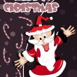 Stock Vector: Background with santa claus