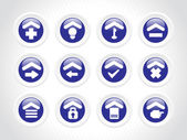 Blue rounded icons for multiple use — ストックベクタ
