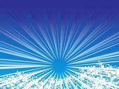Blue sunburst background with fog — Stock Vector