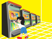 Boy playing with slot machine — Stock Vector