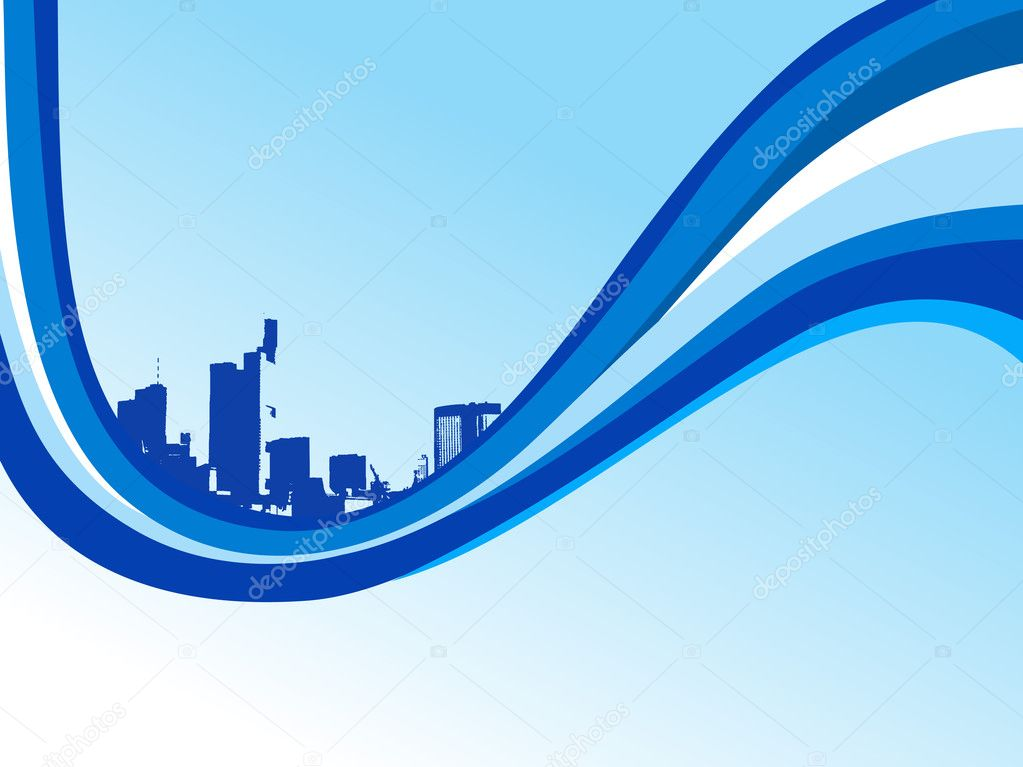 Blue waves with grunge city, wallpaper — Stock Vector #2428162