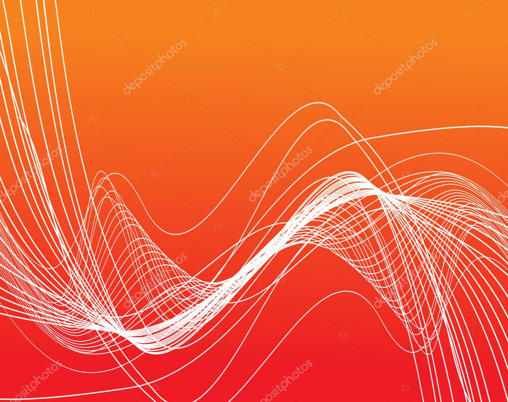 Bright curved lines on orange background, illustration — Stock Vector #2428321