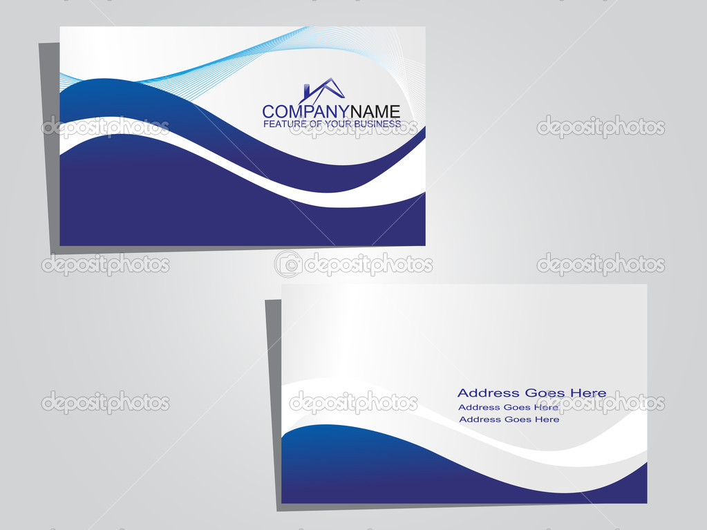 Blue Business Background Business Card With Blue Wave
