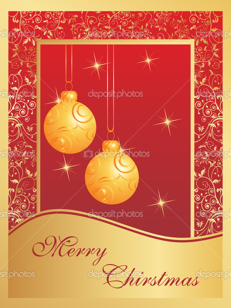 Christmas card with bulbs and snowflakes  — Stock Vector #2429549