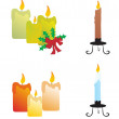 Christmas candle icon set - Stock Vector
