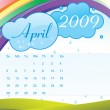 Stock Vector: Calendar for 2009 with sky and rainbow