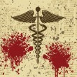 Caduceus on grunge background — 图库矢量图片