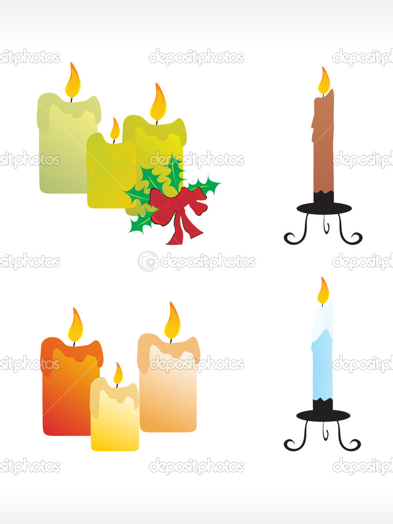 Christmas candle icon set — Stock Vector #2430044