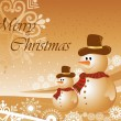 Background with two snowman — Stock Vector