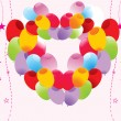 Colorful balloon heart shape — Stock Vector