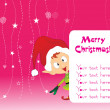 Pink background with santa — Stock Vector