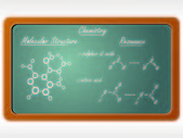 Chalkboard in the chemistry class — Stock Vector