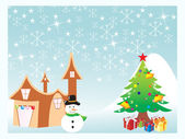 Chirstmas tree with background — Stock Vector