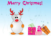 Xmas day background with gift, cartoon — Stock Vector