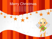 Merry christmas background with cupid — Stock Vector