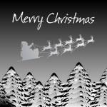 Background with reindeer , tree — Stock Vector