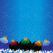 Snowfalls background with xmas balls — Stock Vector