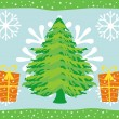Merry xmas background with gift, tree — Stock Vector