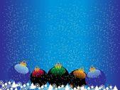 Snowfalls background with xmas balls — Stock Vector