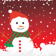 Stock Vector: Dots background with snowman