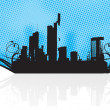 City and sea on dotted background — Stock Vector