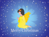 Xmas background with little angel — Stock Vector