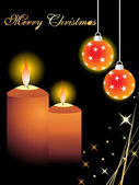 Vector candles and hanging balls — Stock Vector