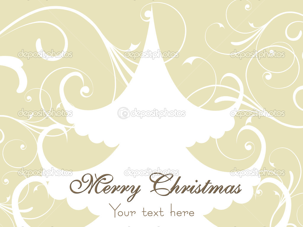 Abstract creative floral pattern background with isolated xmas tree — Stock Vector #2464154
