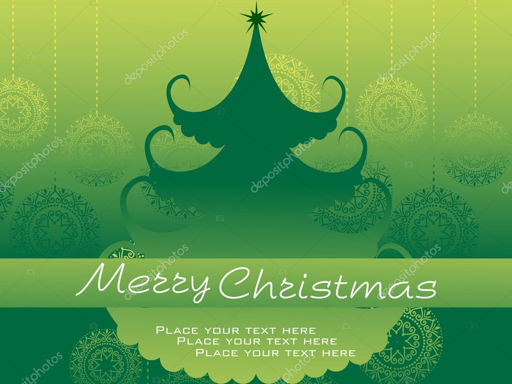 Abstract green hanging ball shape background with isolated christmas tree — Stock Vector #2464362